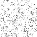 Seamless pattern of bright strawberry Stock Photos