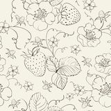 Seamless pattern of bright strawberry Stock Image