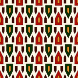 Seamless pattern with bright stylized triangles on white background. Repeated geometric figures wallpaper. Stock Photo