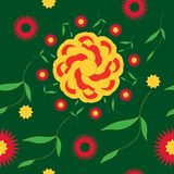 Seamless pattern bright summer flower vector illustration