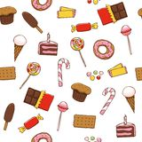 Seamless pattern with bright sweets Stock Image