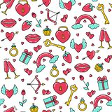 Seamless pattern of bright symbols of Valentine`s day. vector illustration