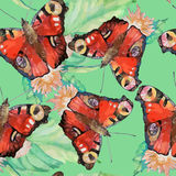 Seamless pattern of bright watercolor butterfly Royalty Free Stock Image