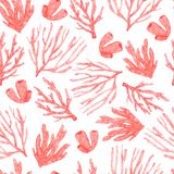 Seamless pattern of bright watercolor hand-drawn corals royalty free illustration