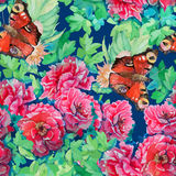 Seamless pattern of bright watercolor roses Royalty Free Stock Photo