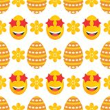 Seamless pattern of laughing smileys and dotted easter eggs with flowers. Seamless pattern of bright yellow marigold flowers and dotted easter eggs with laughing Stock Images