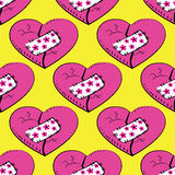 Seamless pattern  broken and patched heart Royalty Free Stock Photography