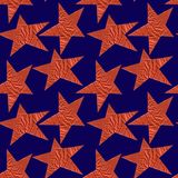 Seamless pattern with bronze stars on a blue background royalty free illustration
