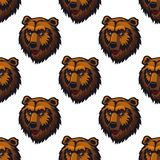 Seamless pattern of brown bear head Royalty Free Stock Image