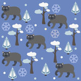 Seamless pattern of brown bear, pine tree and spruce, blue background. Vector Illustration. Winter/Merry Christmas Collection. Seamless pattern of brown bear Stock Photos