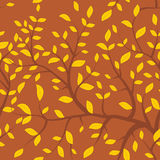 Seamless pattern Brown branches with autumn orange yellow leaves, pastel colors on brown  background. Vector Stock Image