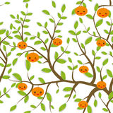 Seamless pattern Brown branches with green leaves, mandarin tangerine  fruits Kawaii funny muzzle with pink cheeks and winking eye Royalty Free Stock Photography