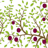 Seamless pattern Brown branches with green leaves, plum fruits Kawaii funny muzzle with pink cheeks and winking eyes, pastel color Stock Photography