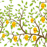 Seamless pattern Brown branches with green leaves, yellow mango fruits Kawaii funny muzzle with pink cheeks and winking eyes, past Royalty Free Stock Images