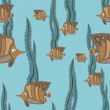 Seamless pattern brown fish Royalty Free Stock Image
