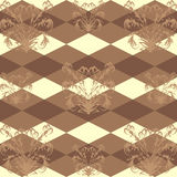 Seamless pattern with a brown floral pattern on dark brown background Rob. Texture Stock Photography