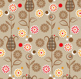 Seamless pattern - brown flowers Stock Photography