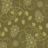 Seamless pattern with brown  flowers Royalty Free Stock Images