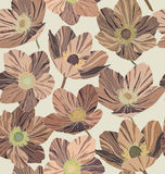 Seamless pattern brown flowers, beige background, stained glass style. Seamless pattern brown flowers dryas, beige background, stained glass style Stock Photography