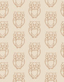 Seamless Pattern with Brown Owls Silhouettes Stock Image