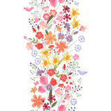 Seamless pattern brush. Bunch of field flowers Royalty Free Stock Images