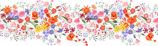Seamless pattern brush. Bunch of field flowers. Vintage style Stock Photo