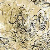 Seamless pattern with brush chaotic black,white,brown ovals Royalty Free Stock Photos