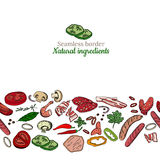 Seamless pattern brush with different vegetables, mushrooms, herbs and meat. Stock Photography