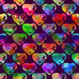 Seamless pattern with brush hearts. Rainbow color on violet background. Hand painted grange texture. Ink grange elements. Decorative ornament of love sign royalty free illustration