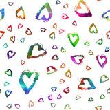 Seamless pattern with brush hearts. Rainbow color on white background. Hand painted grange texture. Ink grange elements. Decorative ornament of love sign Royalty Free Illustration