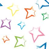 Seamless pattern with brush painted stars Stock Images