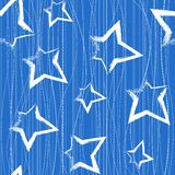 Seamless pattern with brush painted stars. Over blue Royalty Free Stock Images