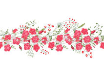 Seamless pattern brush with roses and herbs. Royalty Free Stock Images