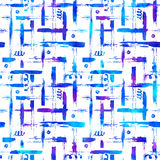 Seamless pattern brush stripes plaid. Blue color on white background. Hand painted grange texture. Ink geometric. Elements. Fashion modern style. Endless Royalty Free Stock Images