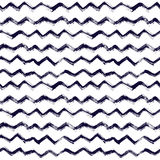 Seamless pattern with brush stripes and waves. Black color on white background. Hand painted grange texture. Ink. Geometric elements. Fashion modern style stock illustration