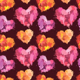 Seamless pattern with brush strokes and blots in heart shapes Stock Images