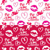 Seamless pattern with brush strokes and scribbles in heart shape Royalty Free Stock Photography