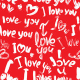 Seamless pattern with brush strokes and scribbles, hearts, words Royalty Free Stock Photos