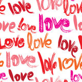 Seamless pattern with brush strokes and scribbles, words LOVE in. Grunge style. Valentines Day Background Stock Image