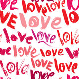Seamless pattern with brush strokes and scribbles, words LOVE - vector illustration