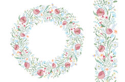 Seamless pattern brush with stylized bright summer flowers. Endless floral hand drawing texture. Stock Image