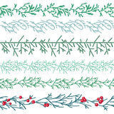 Seamless pattern brushes with  Christmas fir branches Royalty Free Stock Photo