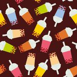 Seamless pattern Bubble Tea with different fruits and berries. Milk Cocktails in plastic cup, tubule. Different sorts of Bubble Te. A Cocktails. pastel colors on Stock Photos