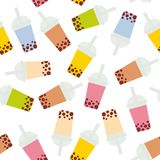 Seamless pattern Bubble Tea with different fruits and berries. Milk Cocktails in plastic cup, tubule. Different sorts of Bubble Te. A Cocktails. pastel colors Stock Image