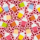 Seamless pattern Bubble Tea with different fruits and berries. Milk Cocktails in plastic cup, tubule. Different sorts of Bubble Te. A Cocktails. pastel colors on Stock Photo