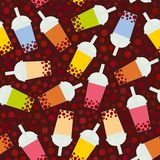 Seamless pattern Bubble Tea with different fruits and berries. Milk Cocktails in plastic cup, tubule. Different sorts of Bubble Te. A Cocktails. pastel colors on Royalty Free Stock Photography