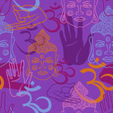 Seamless pattern of Buddha face, om sign and palm. Stock Image