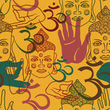 Seamless pattern of buddism attributes Royalty Free Stock Images