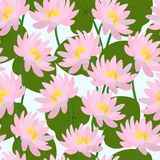 Seamless pattern with buds and leaves of pink lotus. Vector. Stock Illustration