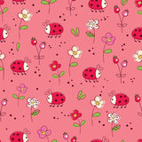 Seamless pattern with bugs and flowers. Seamless pattern with doodle bugs and flowers for kids design Stock Images